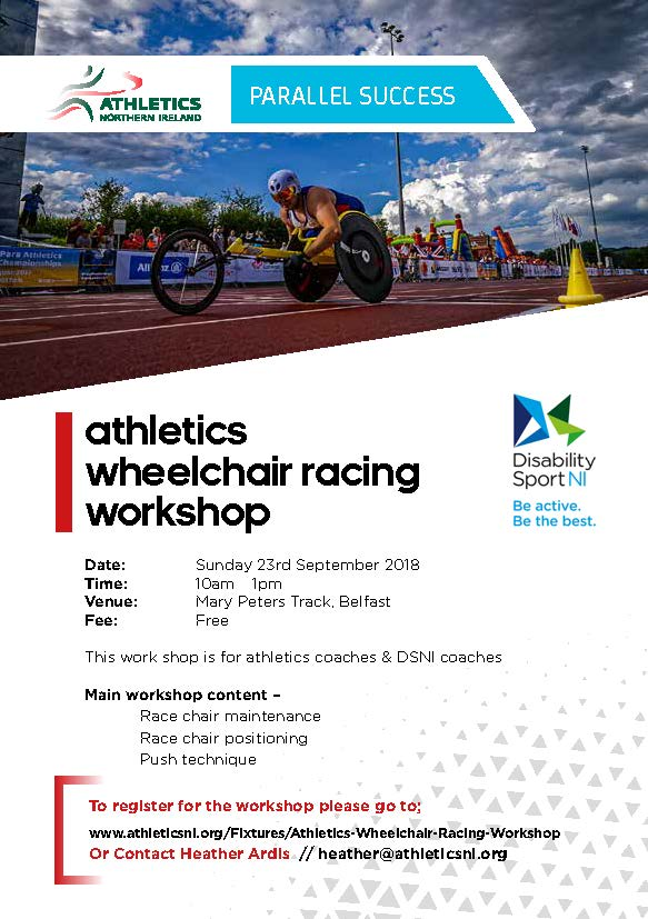 A flyer for the event showing someone using a race chair. This outline the date and time as stated on the website above.