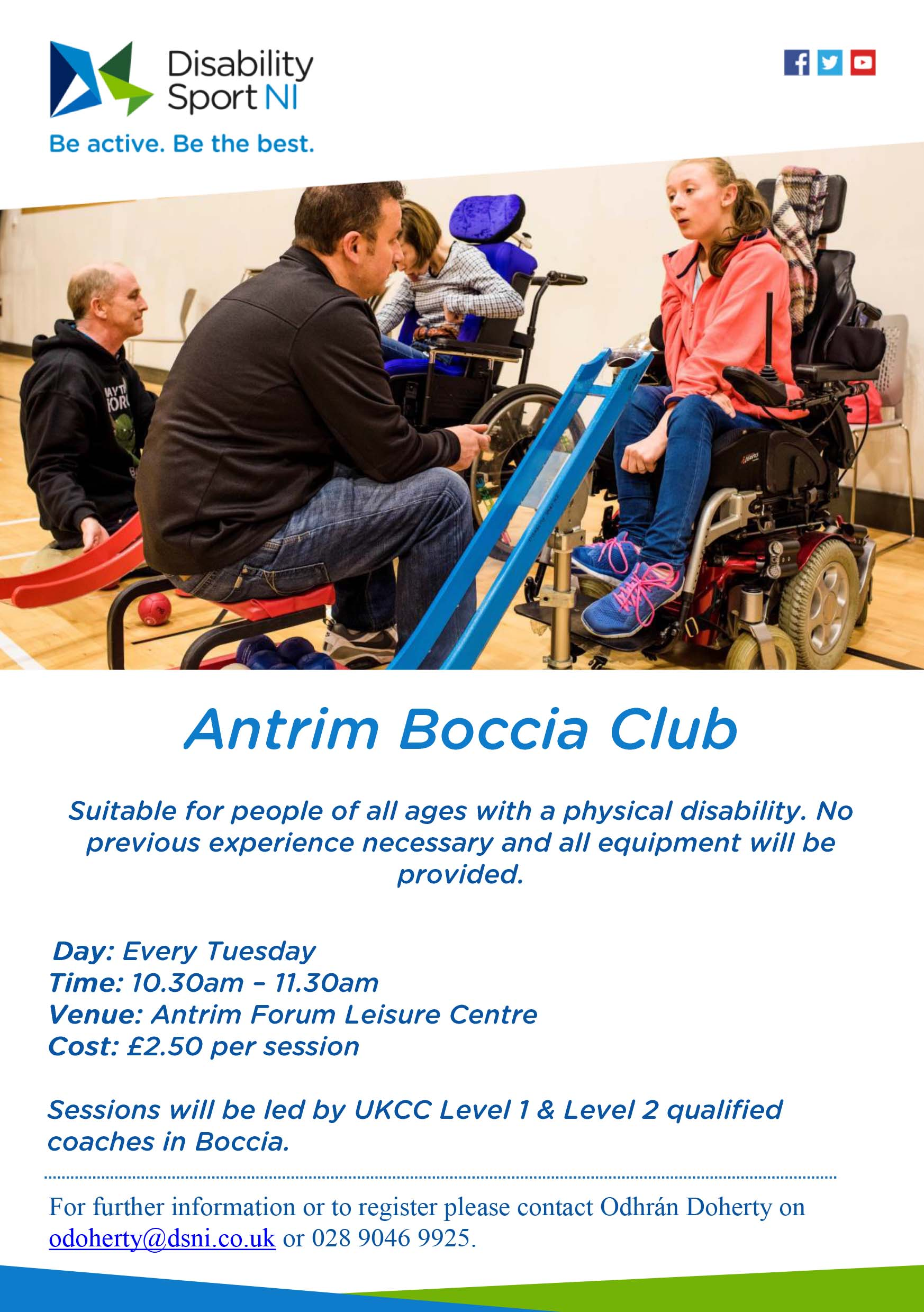 A poster outlining the information above on the website and showing a teenage girl who is a ramp user in boccia talking to her ramp guide