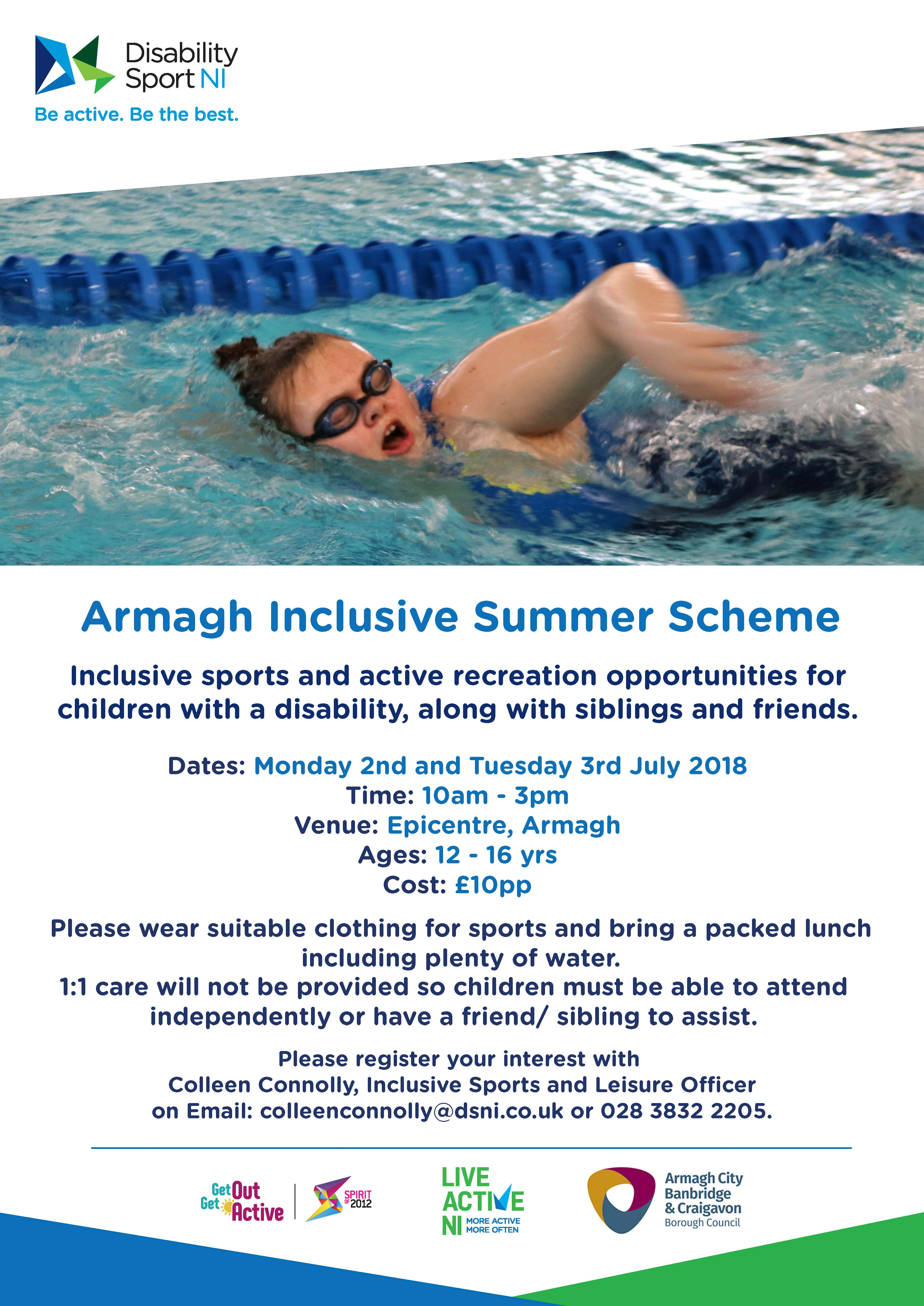 A flyer of the Armagh Inclusive Summer Scheme
