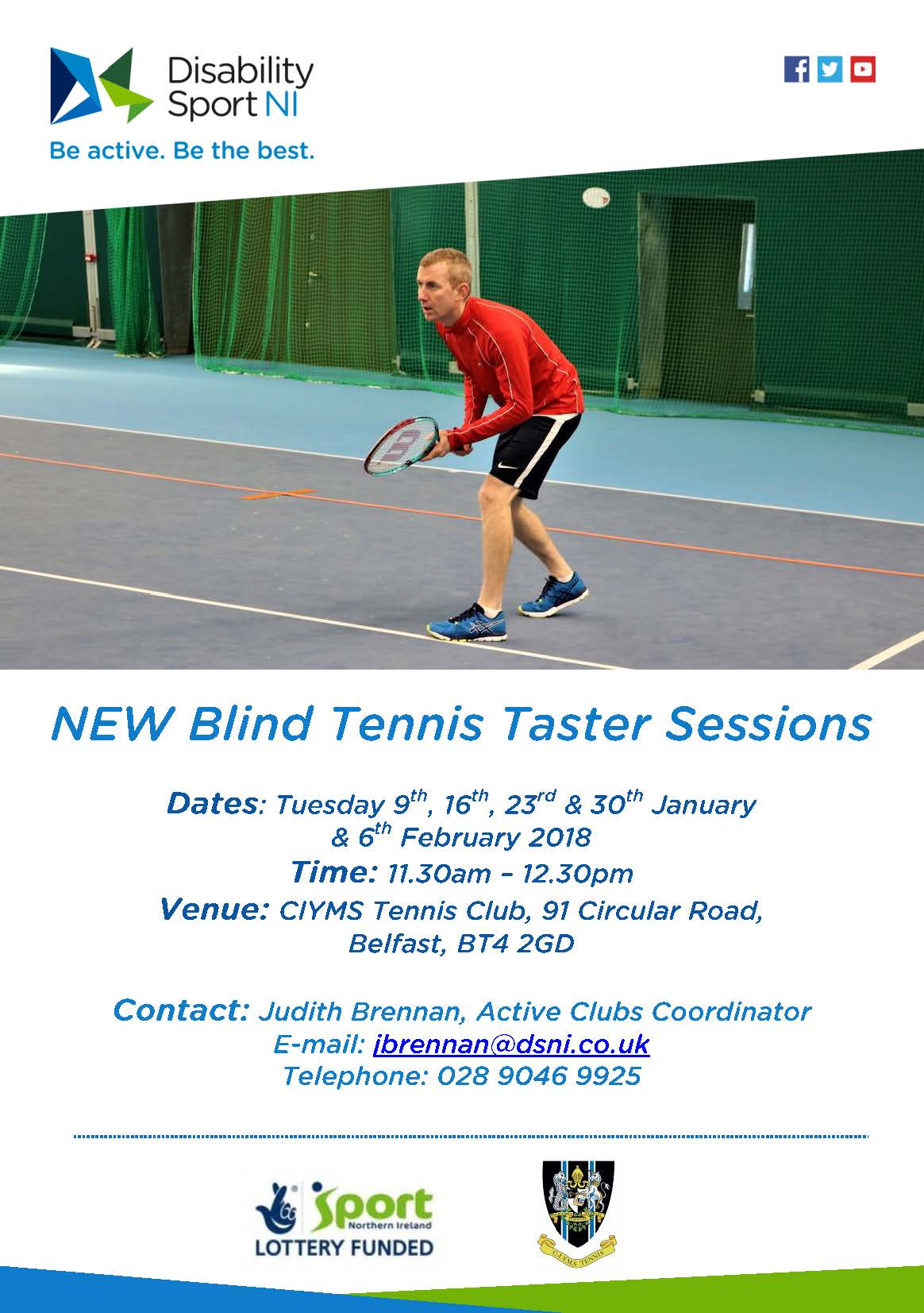 CIYMS Blind Tennis Taster Sessions flyer. Available in other formats upon request