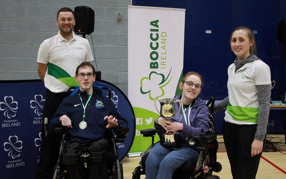 William Graham pictured with his medal beside opponent Niamh Dunphy.