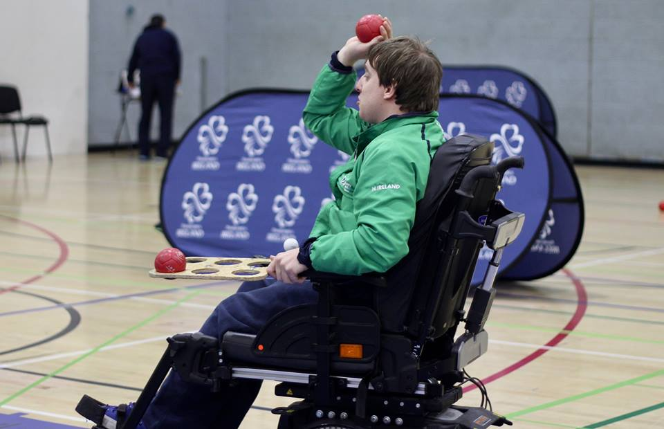 Scott Cromie preparing to throw the boccia ball