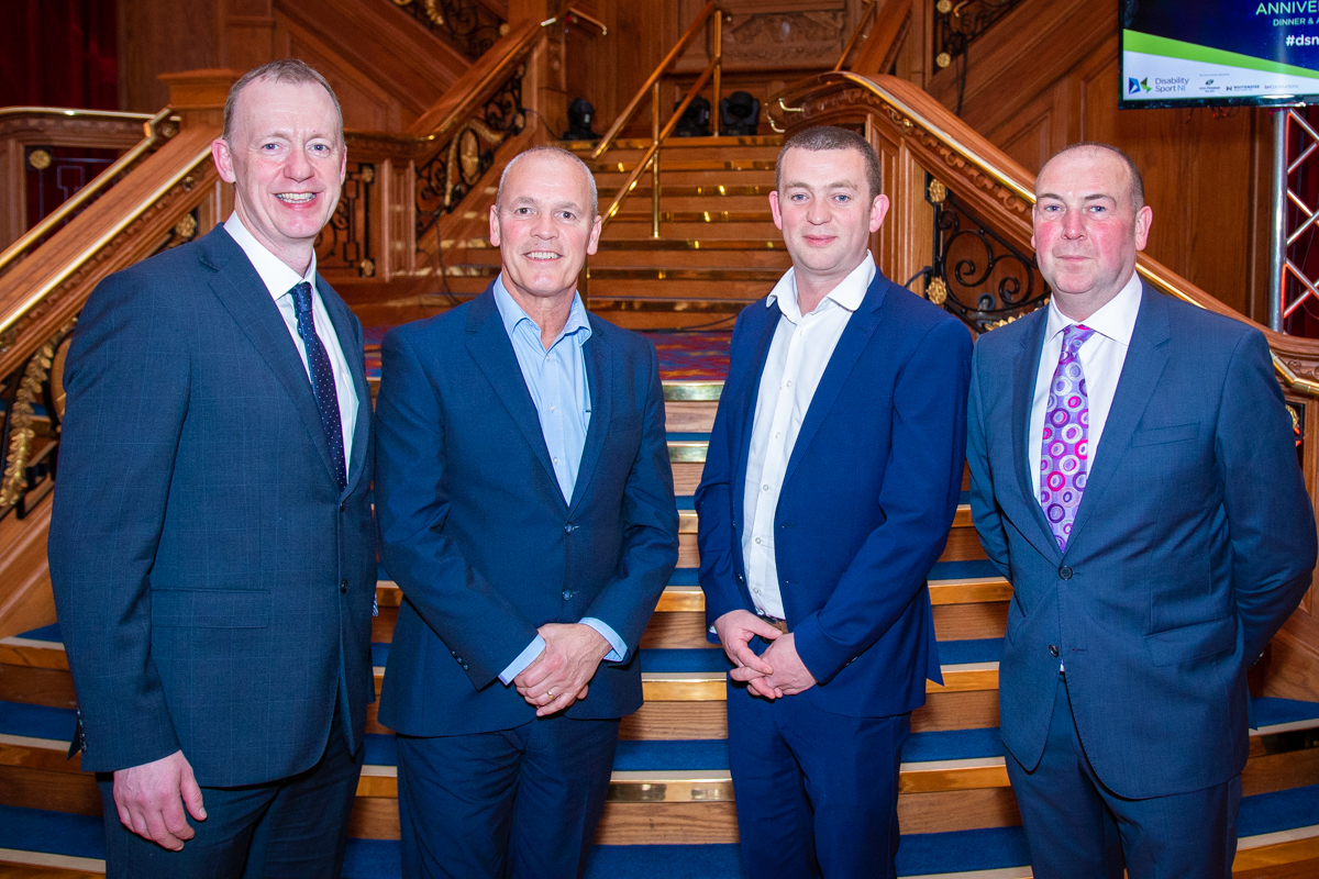 Paul McGreevy and Paul McCann Omexom Power and Grid with Disability Sport NI;s Kevin O'Neill and Michael Hilland