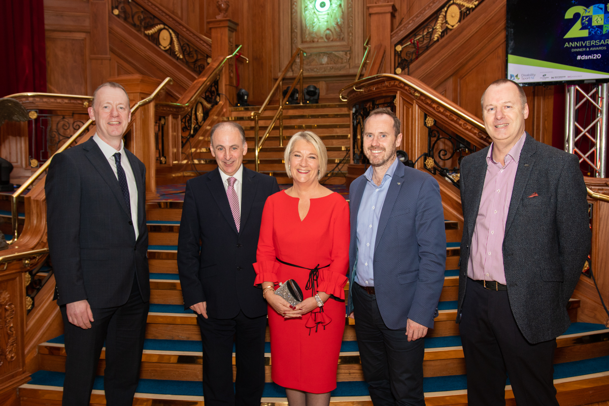 An image of Chris Maylin and Jeff Drennan from Amplifi with Disability Sport NI's Dawn McGookin and Kevin O'Neill