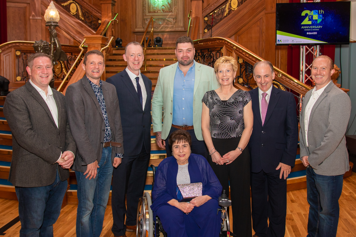 An image of Angela with sponsors from John Preston as well as Disability Sport NI's Kevin O;Neill, Dr Janet Gray and Michael McAteer