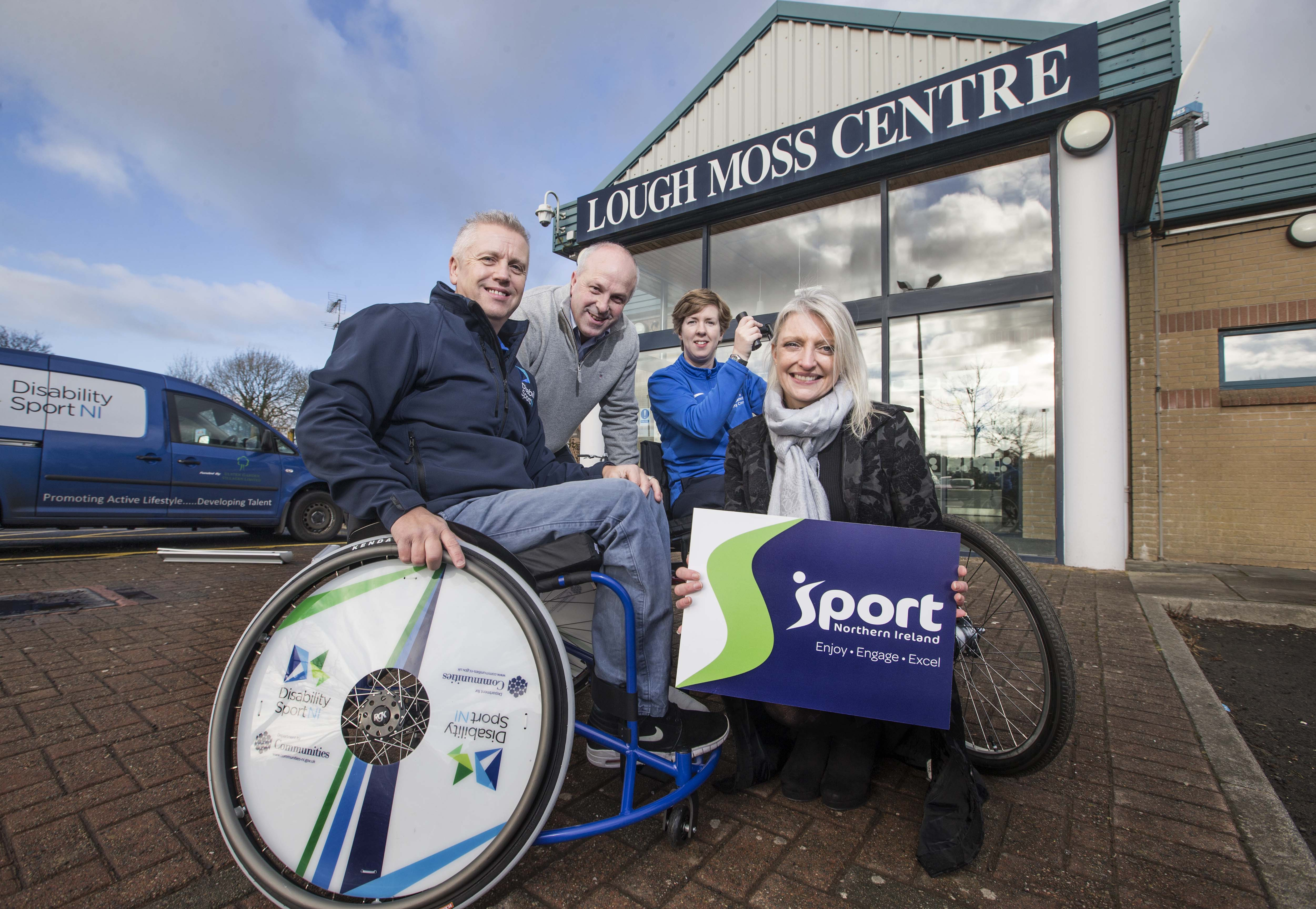 Representatives from DIsability Sport NI, Sport NI and Lisburn and Castlereagh City Council are outside the Lough Moss Centre