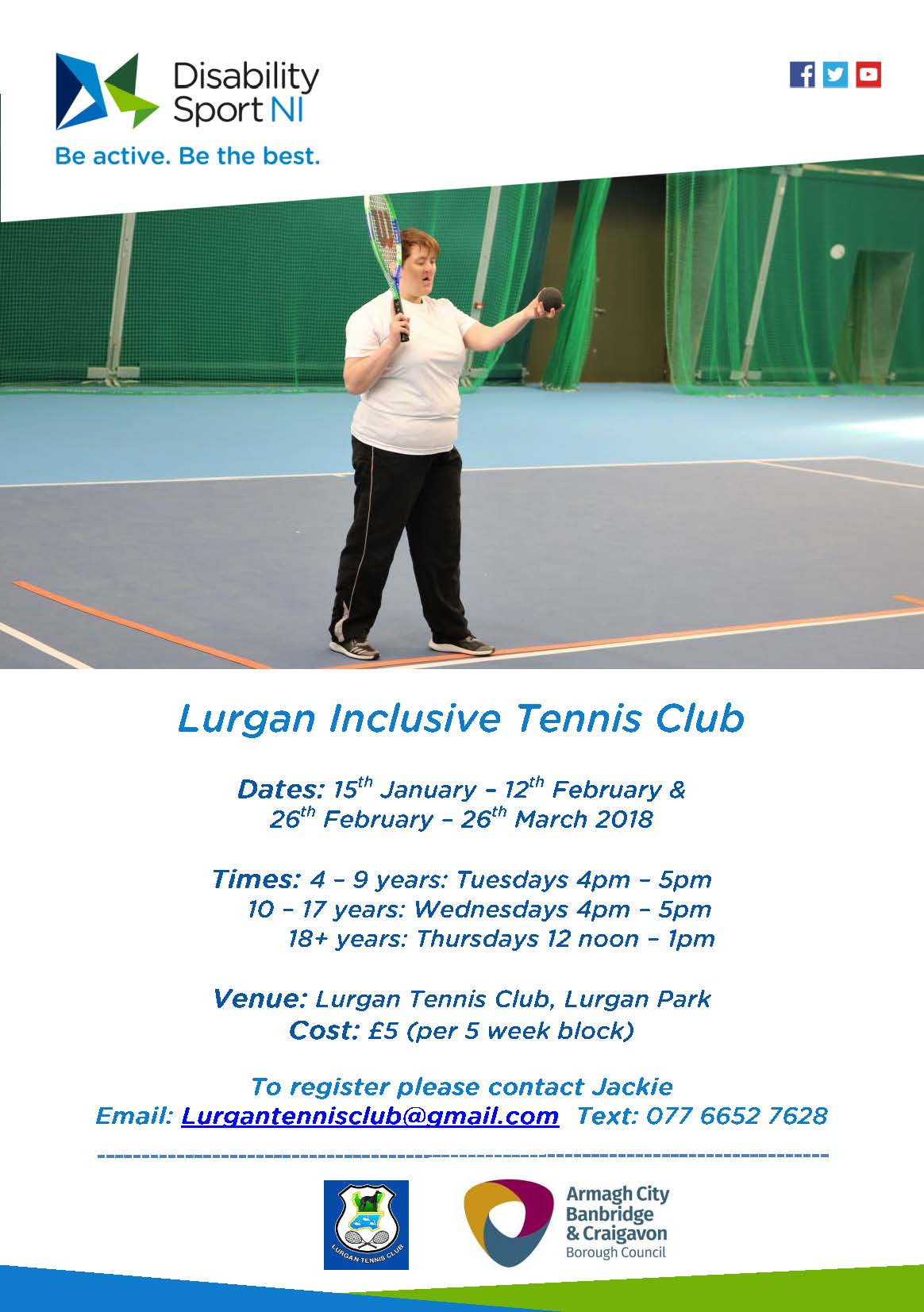 Lurgan Inclusive Tennis Club flyer, alternayive formats available upon request