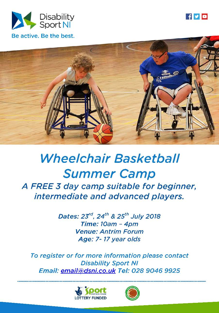 A flyer for the summer camp with all information as above. Image shows two children playing wheelchair basketball.