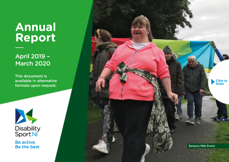 An image of the front cover of the annual report. Image shows a lady walking through large multi-coloured parachutes.