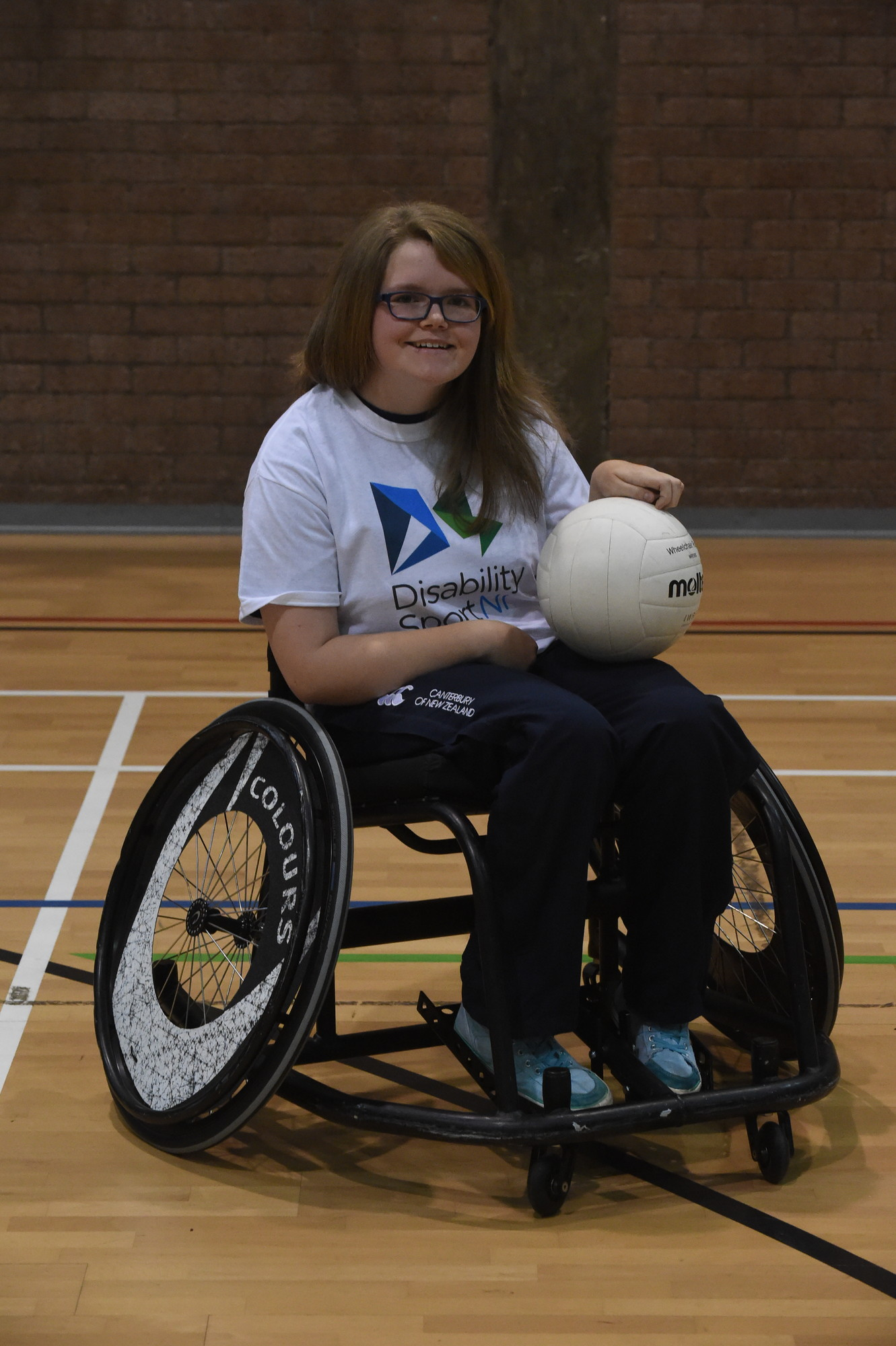 Claire getting ready for a game of Wheelchair Rugby.