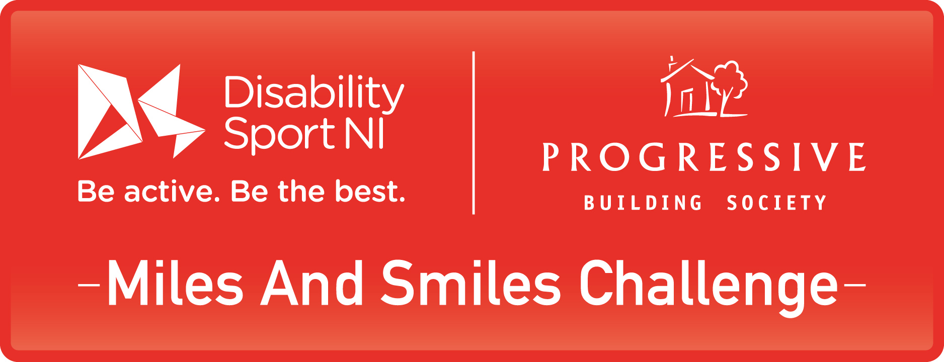 A joint logo for Disability Sport NI and Progressive Building Society that says Miles and Smiles Challenge.