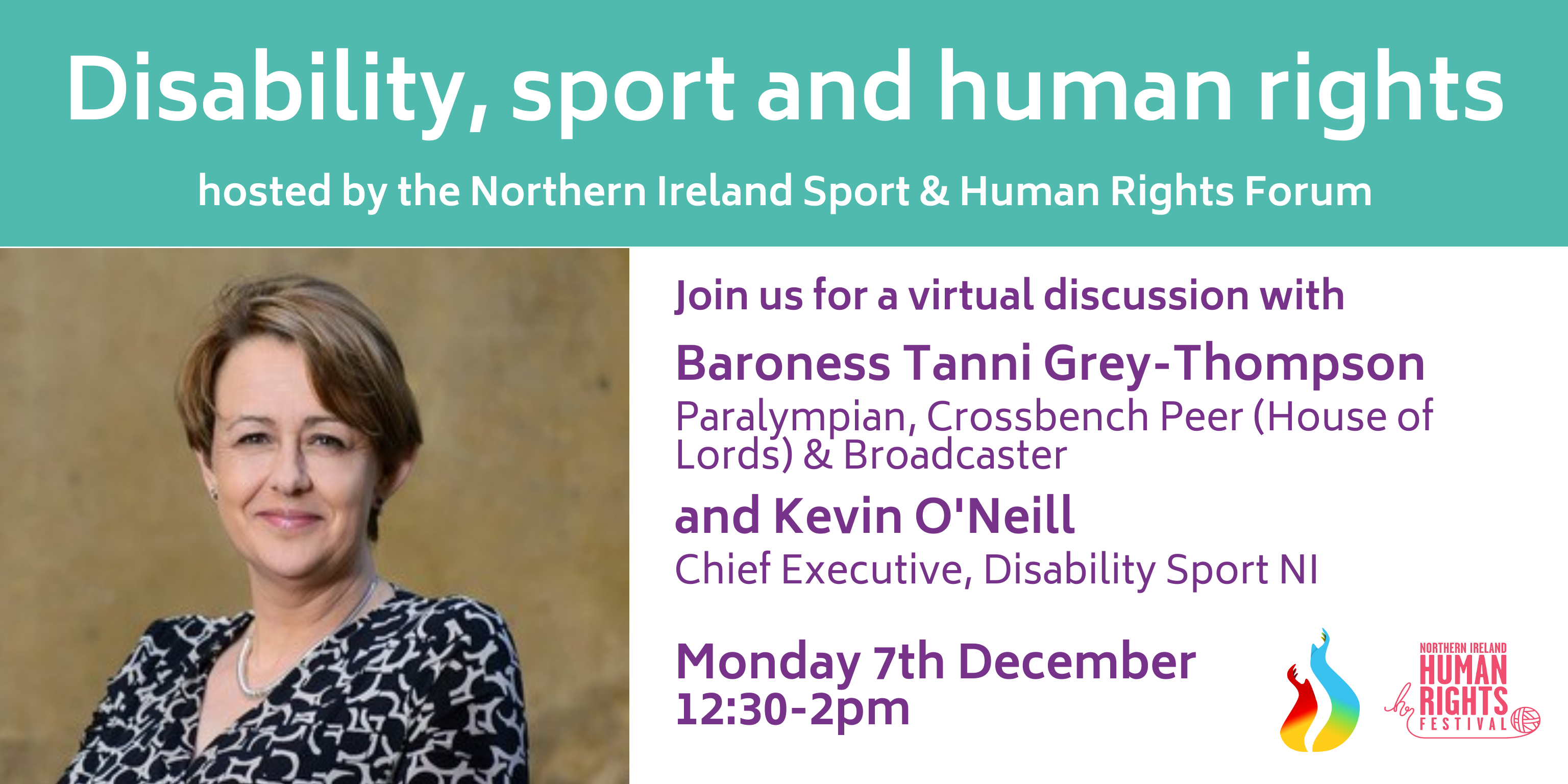 A flyer to promote the event. All information in the body below. Flyer shows an image of Tanni Grey Thompson smiling to camera.