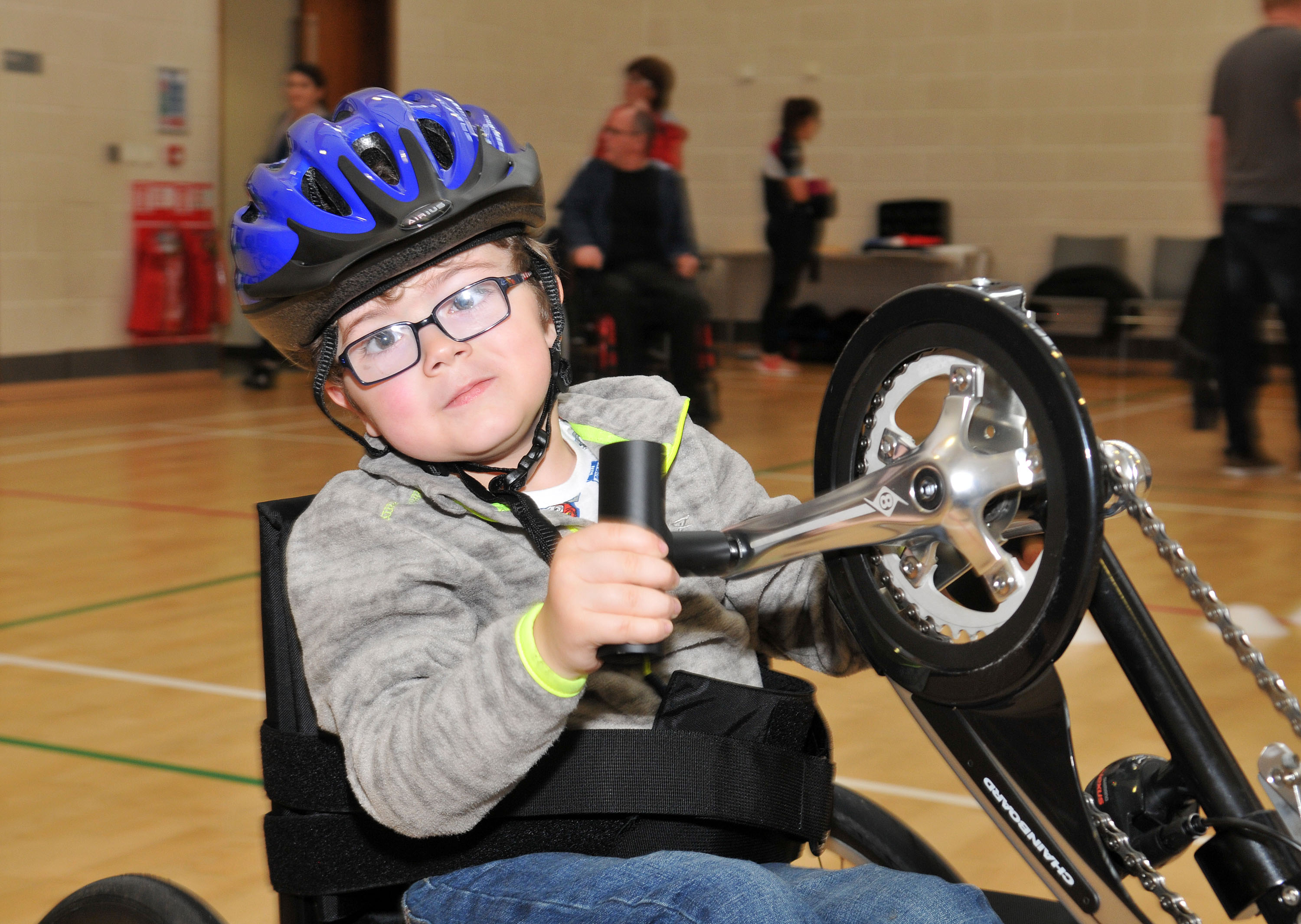Joshua Doyle whizzing round on a hand cycle.