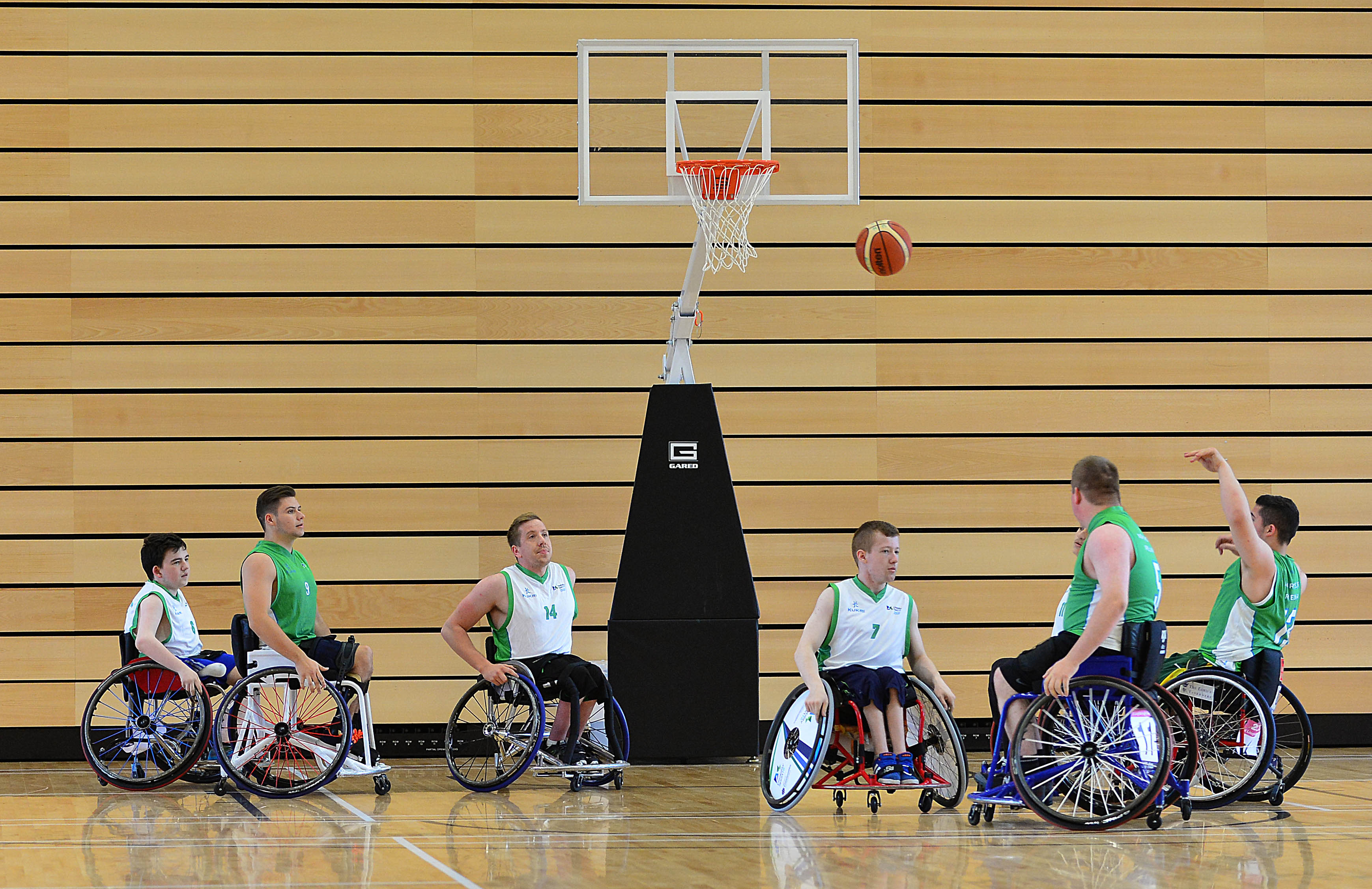Northern Ireland Wheelchair Basketball players in action