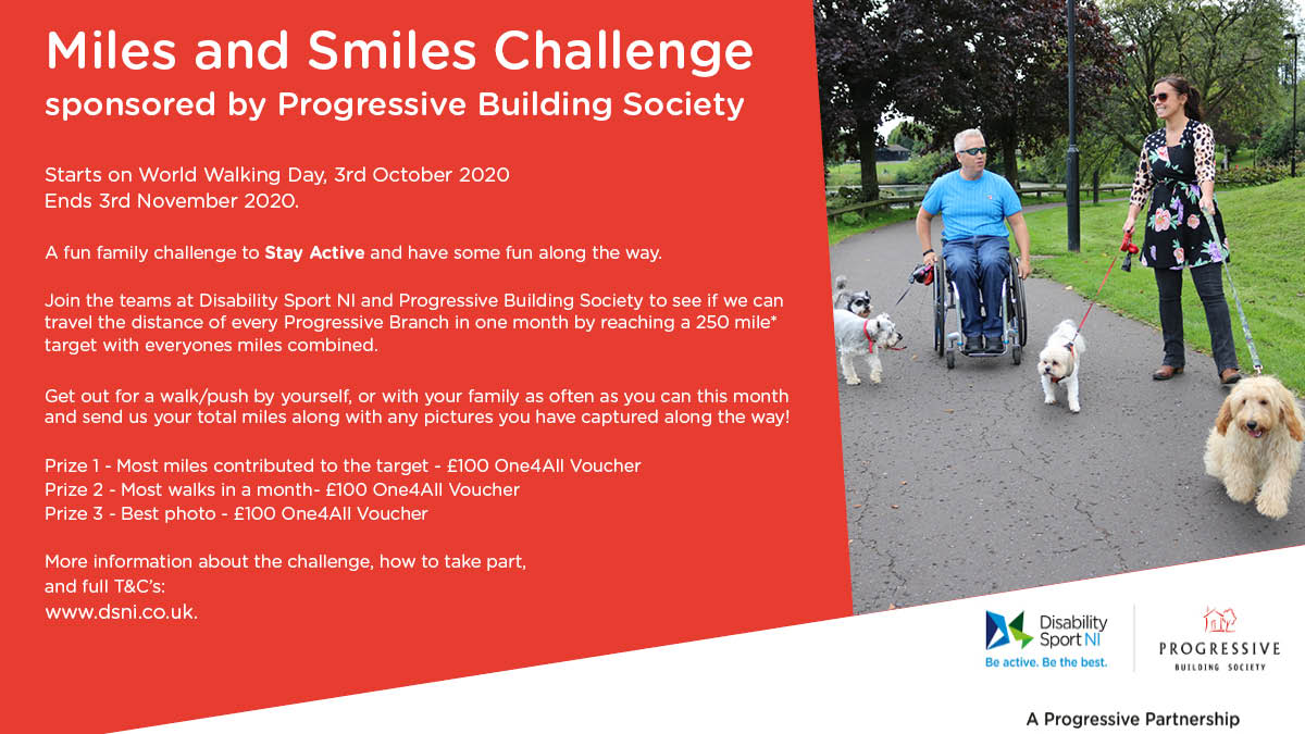 The Miles and Smiles Challenge Flyer - All text is the same as in the body of the website below and the image shows two people out walking their dogs. One female who is non-disabled and one man who is a wheelchair user.