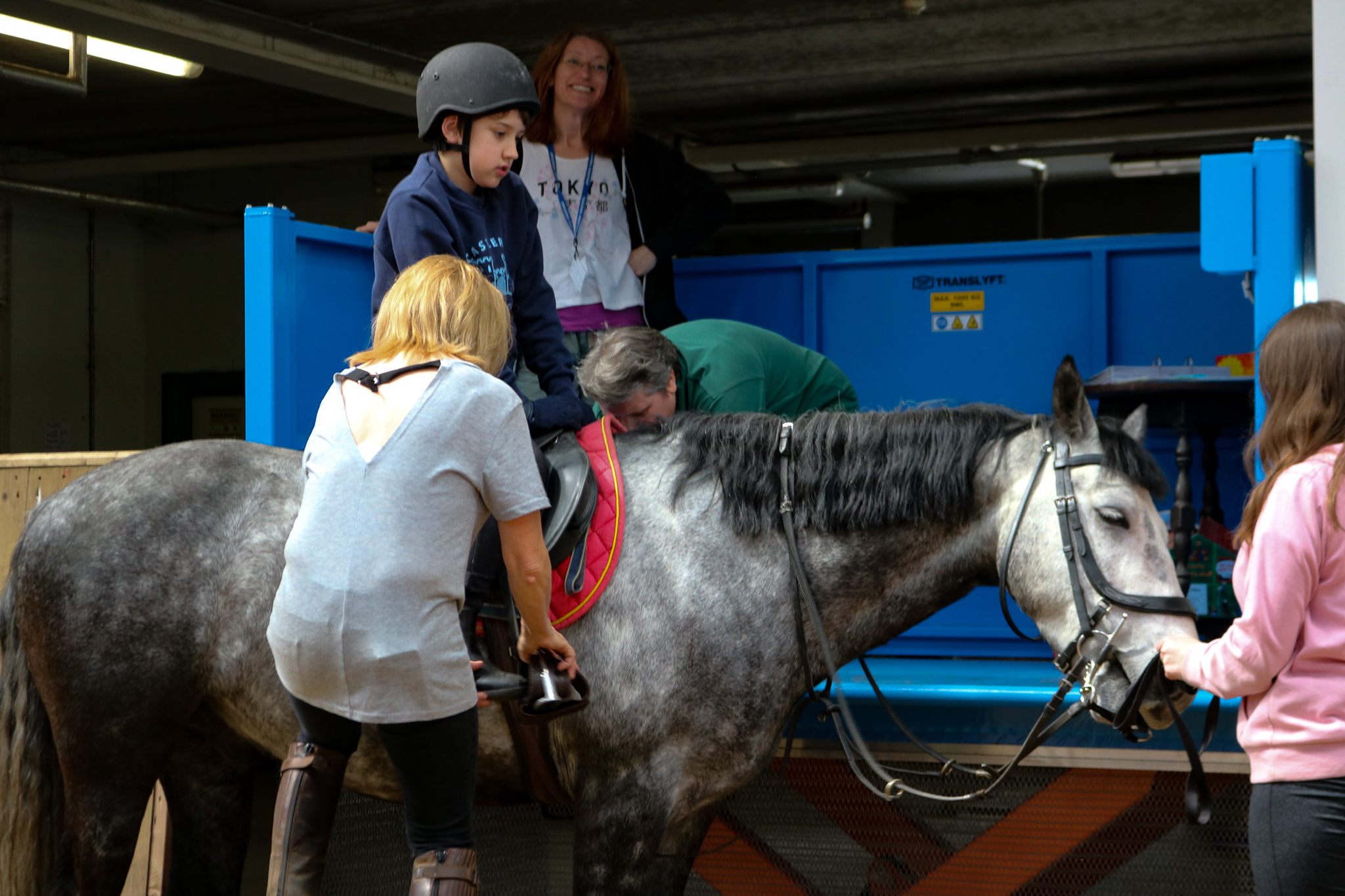 An image of someone using the lift to mount the horse