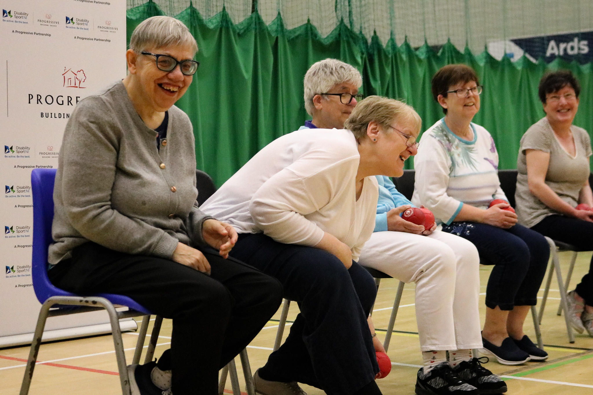 An image of a group playing boccia