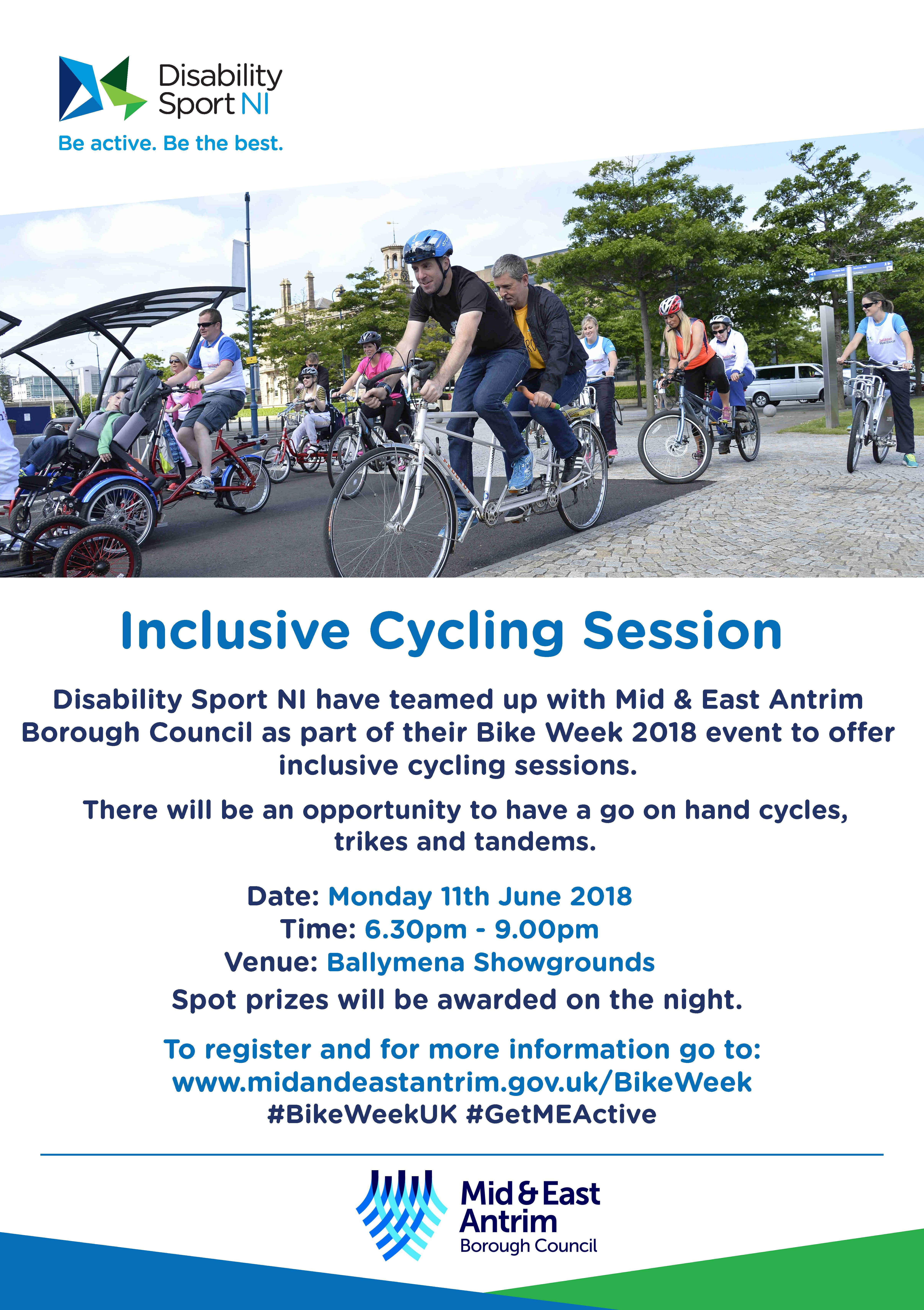 A flyer for the inclusive bike sessions. Information as per above in website body. The image on the flyer is of a group of people out using tandem cycles.