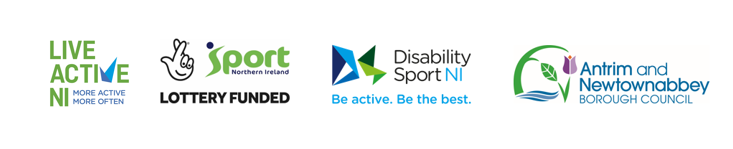A strip showing the Live Active NI, Sport NI Lottery Funded, Disability Sport NI and Antrim and Newtownabbey Borough Council logos
