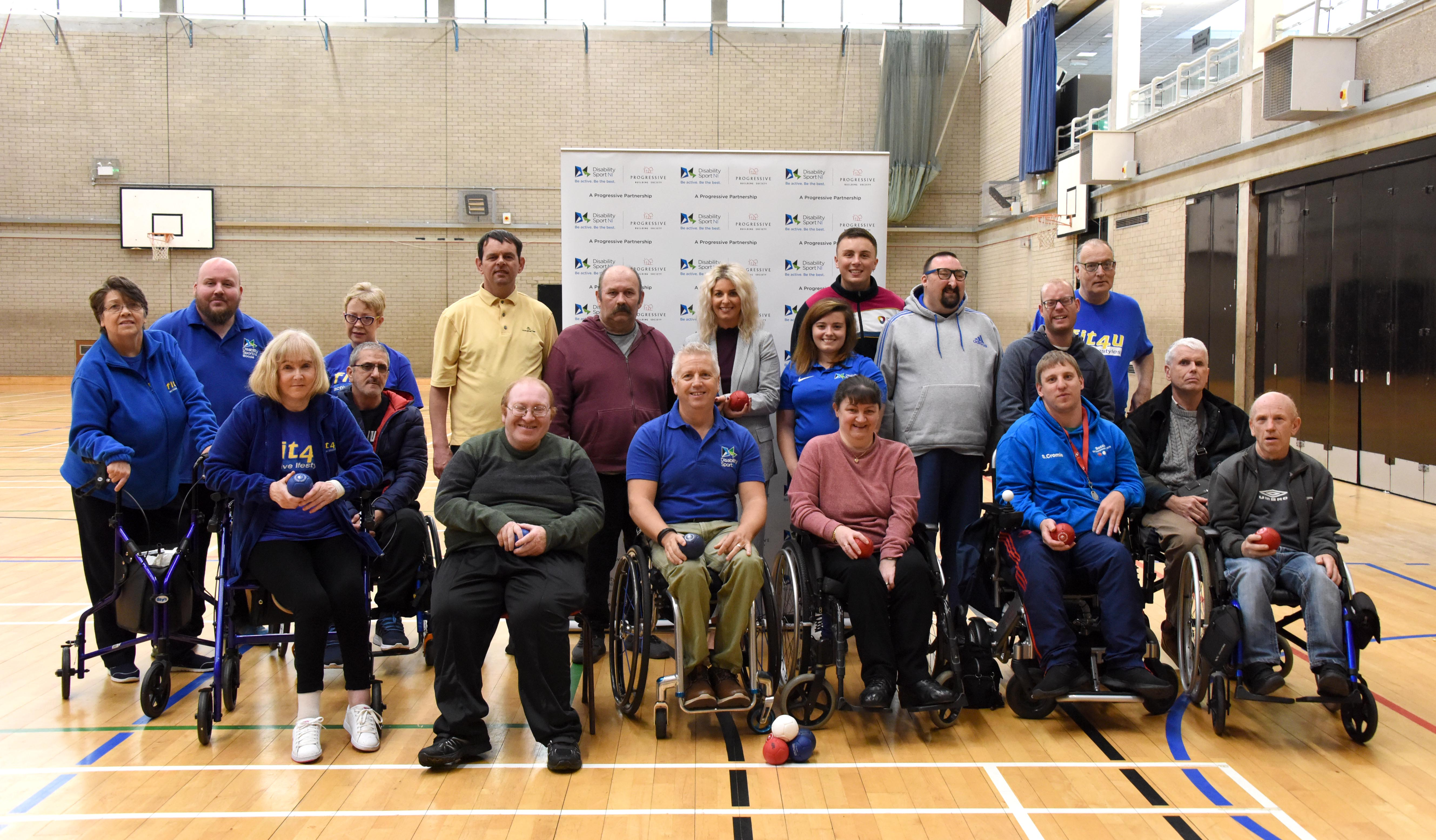 An image of the Craigavon Boccia Club with Lynne Lyness from Progressive Building Society