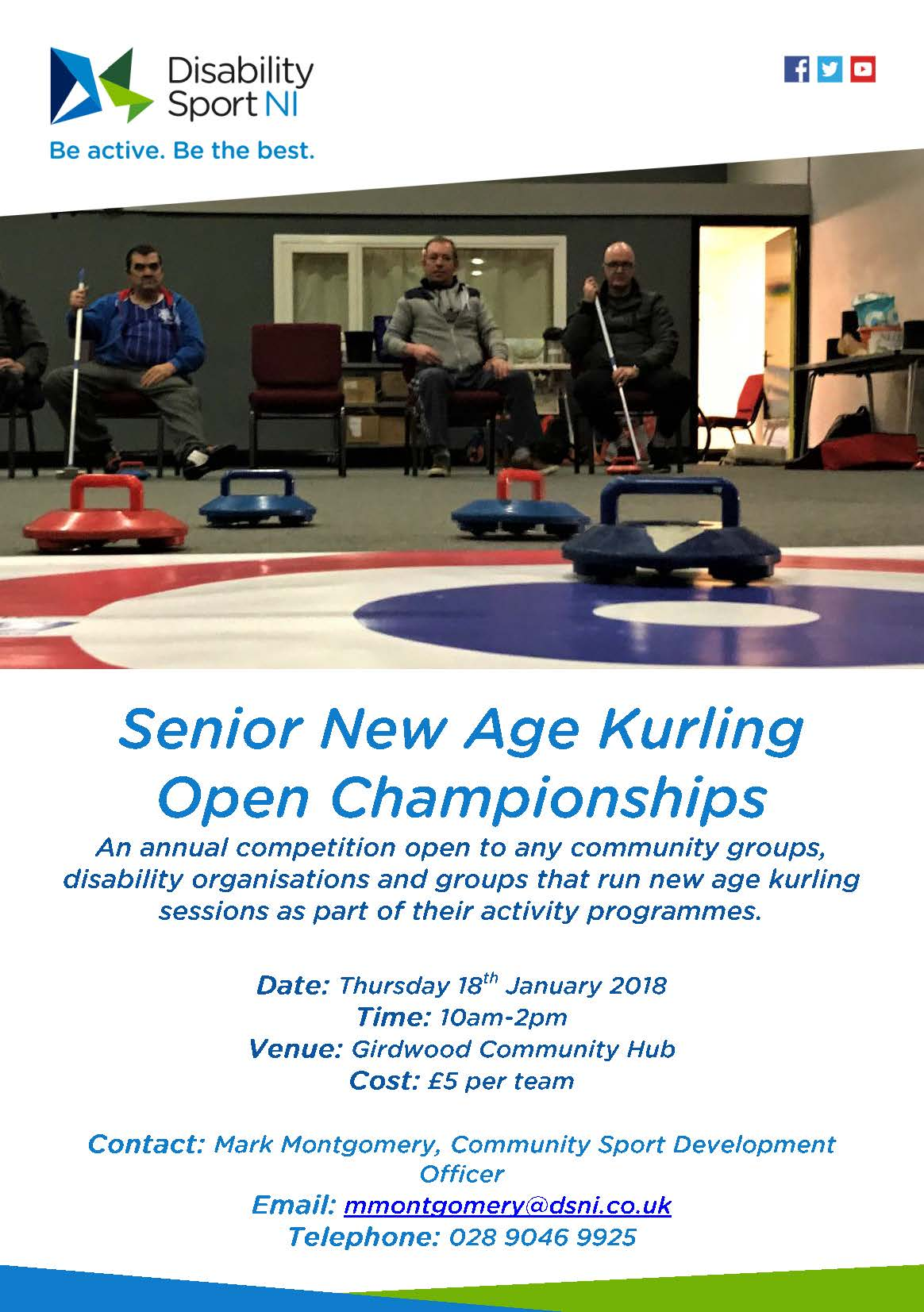 Senior New Age Kurling Open Championships Flyer. Available formats available upon request