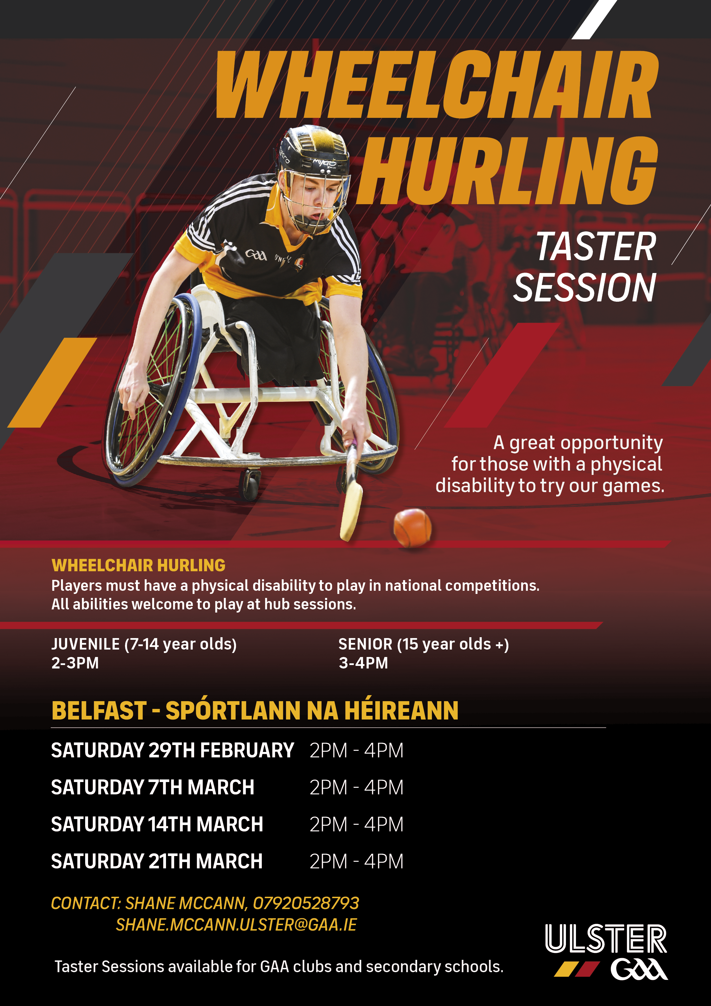 A flyer showcasing Wheelchair Hurling Events. Alternative formats available upon request