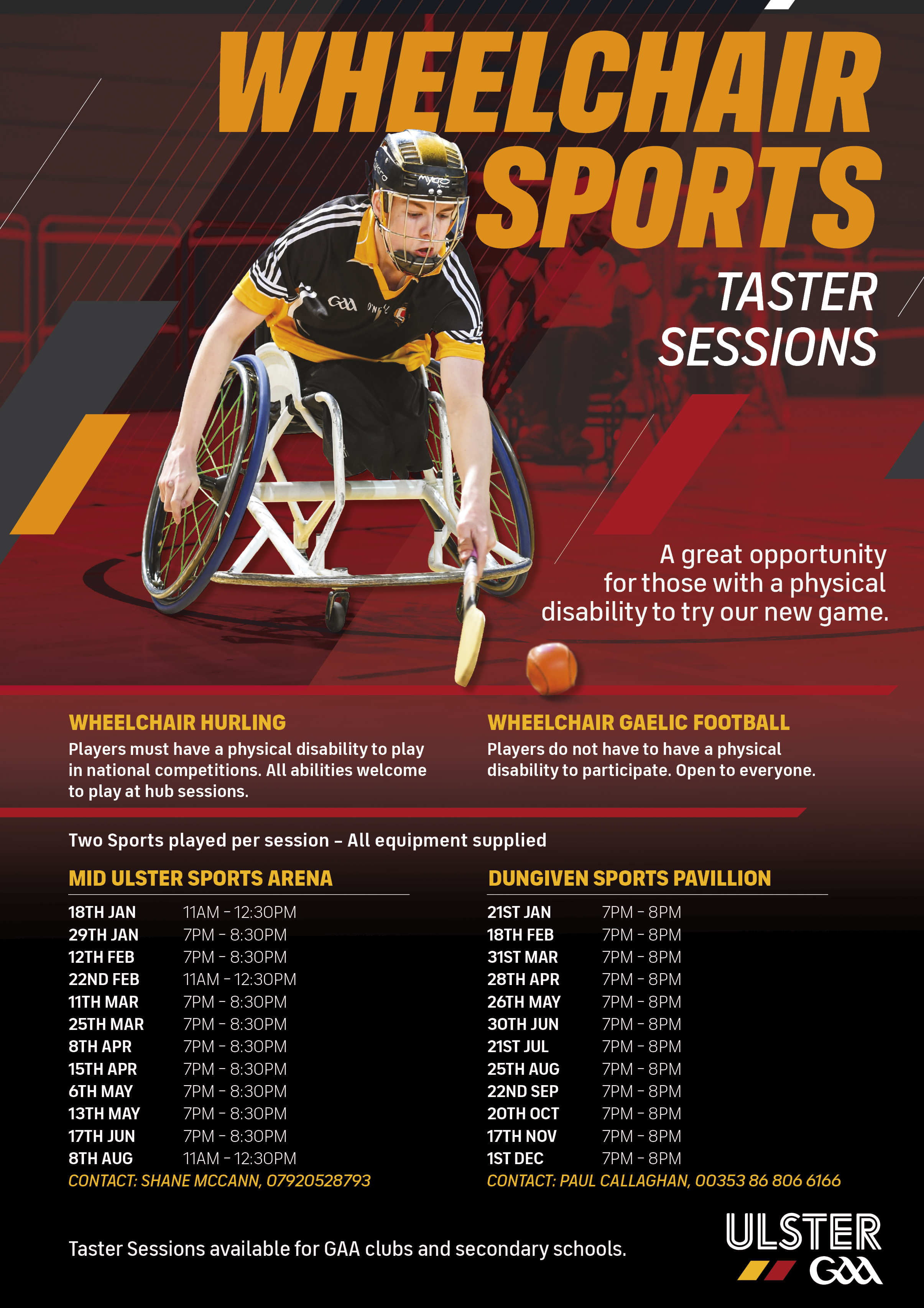 Further information and dates for wheelchair hurling taster sessions. Alternative formats available upon request.