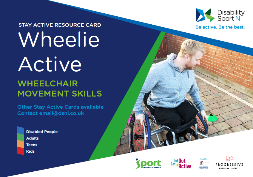 The front cover of the wheelie active resource card showing a man in a wheelchair navigating an obstacle course.