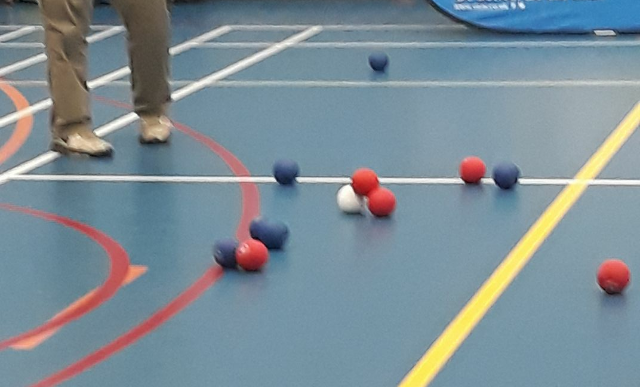 An image of a Boccia Court showing balls on court with a red ball resting on top of the blue and white (Jack) balls